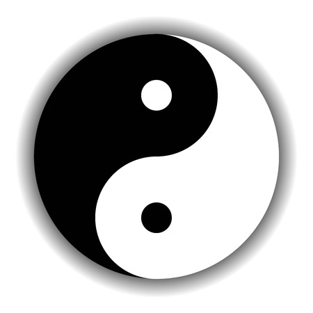 Yin Yang symbol icon of Chinese phylosophy describes how opposite and contrary forces may be complementary, interconnected and interdependent in the natural world. Black and white illustration with shadow.