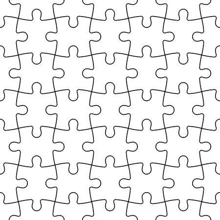 Jigsaw puzzle seamless background. Mosaic of white puzzle pieces with black outline in linear arrangement. Simple flat illustration. 矢量图像