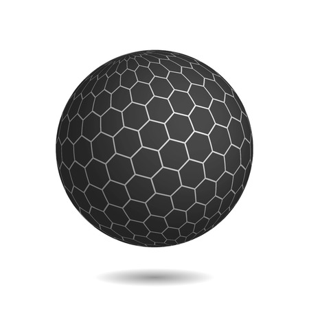 Dark magic sphere with surface of hexagons. Looks like unbreakable and very protected mysterious object. 3D illustration with shadow on white background.