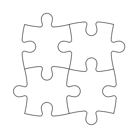 solved: Solved jigsaw puzzle of four pieces. Team cooperation, teamwork or solution business theme. Simple flat illustration with black outline on white background.