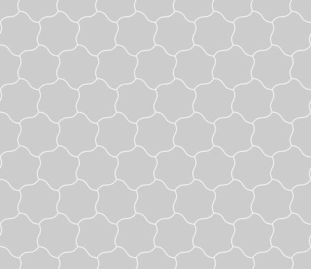 simple: Seamless background of curved hexagons. Looks like puzzle od stars. Simple abstract pattern background in grey with thin white outline.