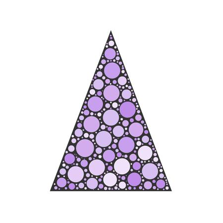 chrismas card: Simple abstract chrismas tree of violet dots, or circles, in a grey triangle shape. Illustration