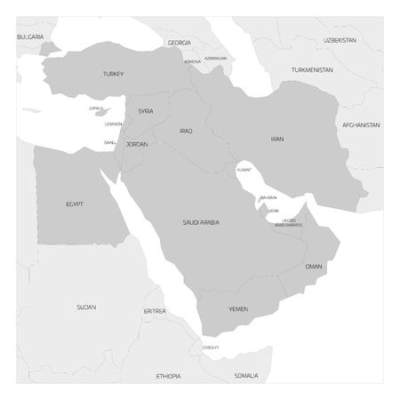 middle east map: Map of Middle East or Near East transcontinental region with highlighted Western Asia countries, Turkey, Cyprus and Egypt. Flat grey map with country thin black borders.