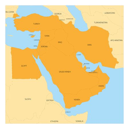 iraq conflict: Map of Middle East or Near East transcontinental region with orange highlighted Western Asia countries, Turkey, Cyprus and Egypt. Flat map with yellow land, thin black borders and blue sea.