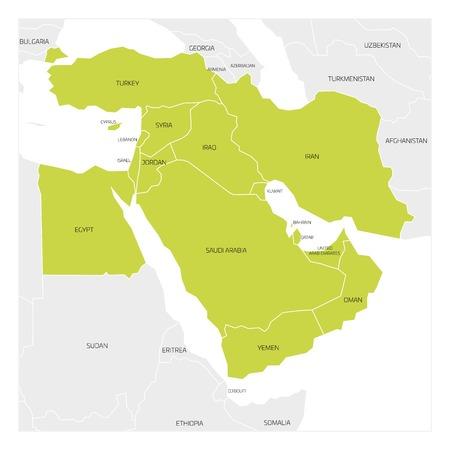 Mapa de Oriente Medio o Próximo Oriente región transcontinental con el verde de relieve los países de Asia occidental, Turquía, Chipre y Egipto. mapa plano con las fronteras estatales blancas finas.