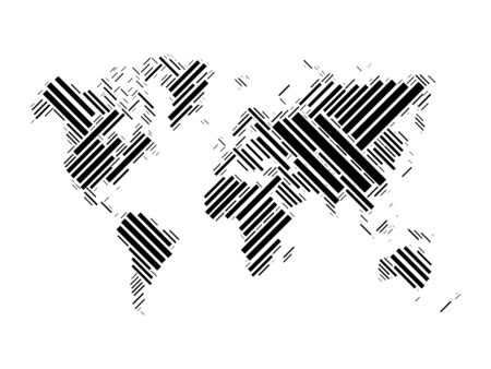 Vector world map mosaic of black blocks on white background.