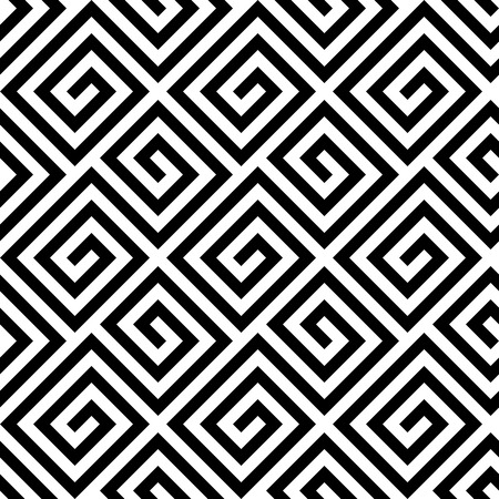 Seamless background fret key pattern of in diagonal arrangement. Black and white greek retro style theme. Simple flat geometric and abstract vector illustration.