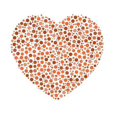 Heart mosaic of orange dots in various sizes and shades. Vector illustration on white background.