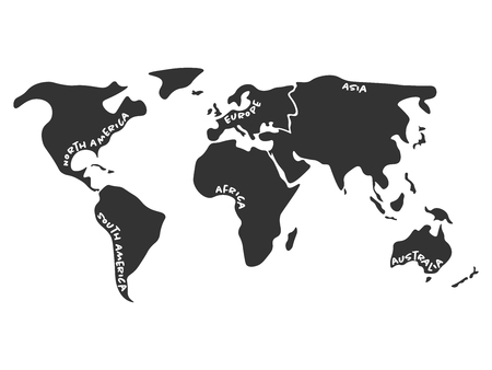 simplified: World map divided to six continents in dark grey - North America, South America, Africa, Europe, Asia and Australia Oceania. Simplified silhouette vector map with continent name labels curved by borders.