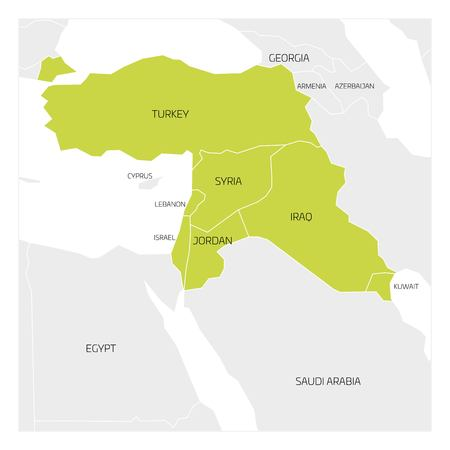 middle east map: Map of Middle East or Near East transcontinental region with green highlighted Turkey, Syria, Iraq, Jordan, Lebanon and Israel. Flat map with thin white state borders.