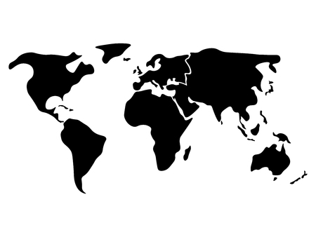 world map continents black and white