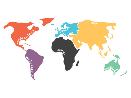 Multicolored world map divided to six continents in different colors - North America, South America, Africa, Europe, Asia and Australia Oceania. Simplified silhouette vector map with continent name labels curved by borders.