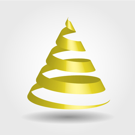 Simple golden ribbon in a shape of Christmas tree. Modern and elegant Merry Christmas theme. 3D vector illustration with dropped shadow and gradient background.