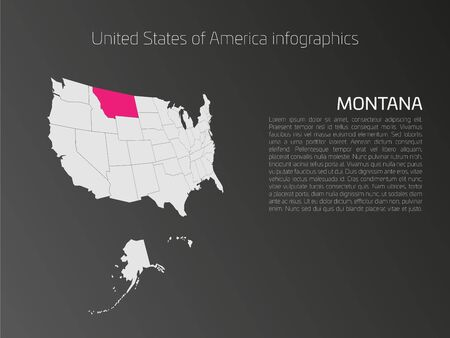 text area: United States of America, aka USA or US, map infographics template. 3D perspective dark theme with pink highlighted Montana, state name and text area on the left side.