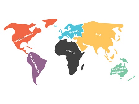 Multicolored world map divided to six continents in different colors - North America, South America, Africa, Europe, Asia and Australia Oceania. Simplified silhouette vector map with continent name labels.