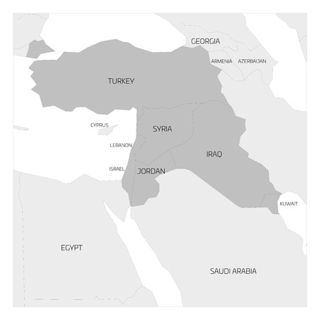 middle east map: Map of Middle East or Near East transcontinental region with highlighted Turkey, Syria, Iraq, Jordan, Lebanon and Israel. Flat grey map with country thin black borders. Illustration