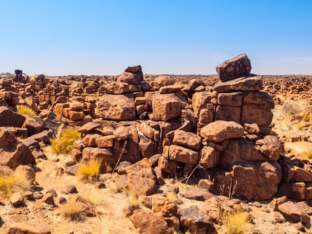 Giants Playground rock formations on sunny day with clear blue sky near Keetmanshoop, Namibia, Africa