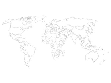 World map with country borders thin black outline on white 68632447 blank map of world with thin black smooth country borders on white background simplified flat vector illustation gumiabroncs Image collections