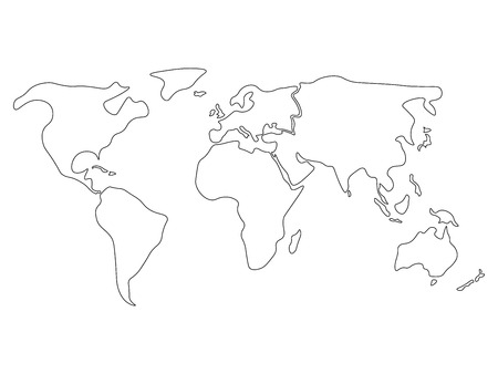world map divided to six continents in black north america south america africa europe asia and australia oceania simplified black outline of