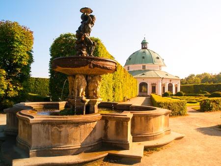 rotunda: Kromeriz Flower Garden with water fountain and baroque rotunda,          Kromeriz, Moravia Czech Republic Stock Photo