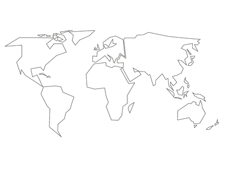 Simplified beige silhouette of world map divided to six continents simplified black outline of world map divided to six continents simple flat vector illustration on gumiabroncs Choice Image