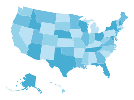 Blank map of United States of America, aka USA, divided into states in four shades of blue. Simple flat vector illustration on white background.