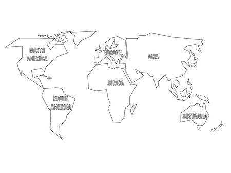Vector map of the world drawing in black marker on a white simplified black outline of world map divided to six continents with labels simple flat vector gumiabroncs Choice Image