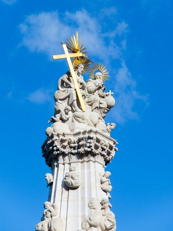 Detailed view of Holy Trinity Column, aka Plague column, located in the middle of Trinity Square, Buda Castle District, Budapest, Hungary, Europe. Stock Photo