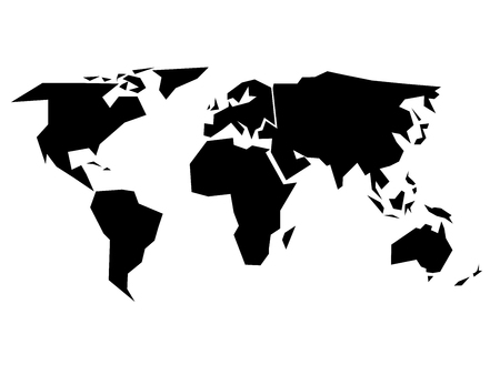 simplified: World map silhouette - simplified black vector shape divided into six continents - South America, North America, Europe, Africa, Asia and Australia Illustration