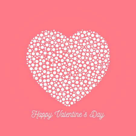 Happy Valentines Day - elegant graphic design card with dotted heart and calligraphic script label on pink background.