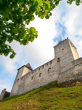 Fortification of medieval stronghold Kasperk Castle near Kasperske Hory in Southern Bohemia, Sumava Mountains, Czech Republic, Europe.