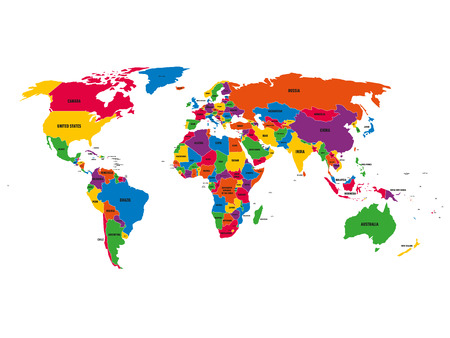 Multi-colored political vector map of World with national borders and country names on white background. Illustration