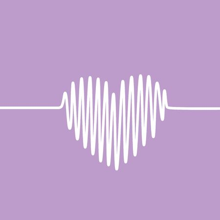 heartbeat line: White heartbeat line in a shape of heart on violet background. Vector graph of ECG, or EKG.