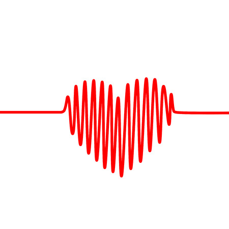 Red heartbeat line in a shape of heart on white background. Vector graph of ECG, or EKG. Illustration