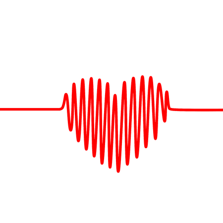 Red heartbeat line in a shape of heart on white background. Vector graph of ECG, or EKG. Stock Photo