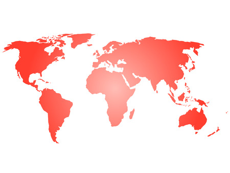 Map of World. Red silhouette vector illustration with gradient on white background. Illustration