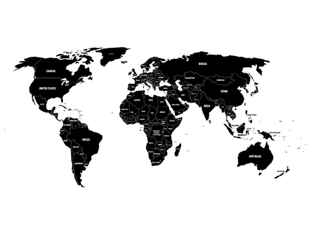 Black political World map with country borders and white state name labels. Hand drawn simplified vector illustration. Vettoriali