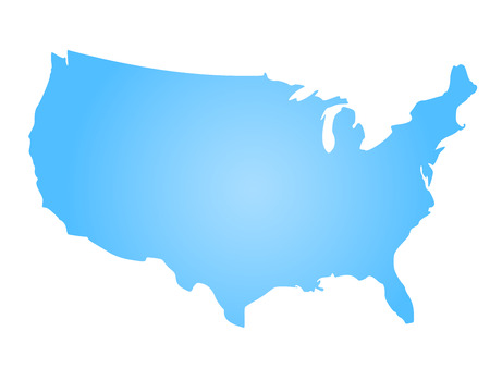 Blue radial gradient silhouette map of United States of America, aka USA. illustration.