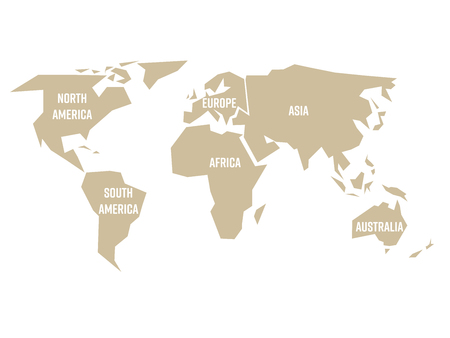 Simplified beige silhouette of world map divided to six continents. Simple flat illustration on white background.