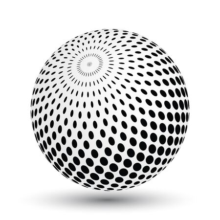 globe grid: Halftone effect sphere in black and white. Vector 3D object with dropped shadow.