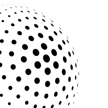 Sphère 3D abstraite de demi-teintes de points de cercle en arrangement radial. Élément de vecteur de conception moderne simple en noir et blanc. Vecteurs
