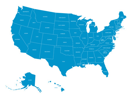 Map of United States of America with state names. Ilustrace