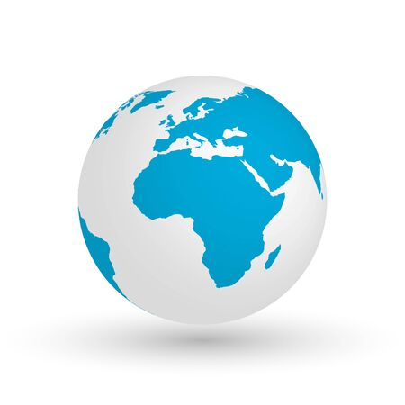 globe illustration: 3D Earth globe. Vector EPS10 illustration of planet with blue continents silhouette. Focused on Africa.