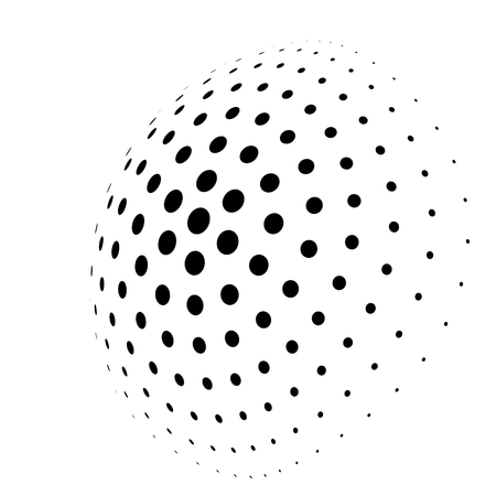 Abstract halftone 3D sphere of circle dots in radial arrangement. Simple modern design vector element in black and white. Ilustração Vetorial