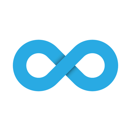 Infinity symbol icon. Representing the concept of infinite, limitless and endless things. Simple blue vector design element on white background. Illustration
