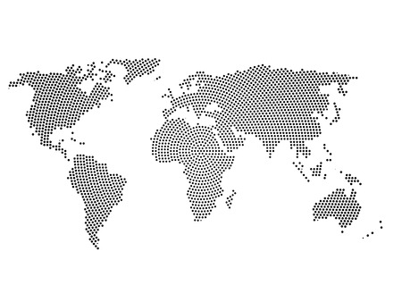Patrn de tono mapa del mundo puntos matrix dos gray ilustraciones 72632726 black halftone world map of small dots in radial arrangement simple flat vector illustration on white background gumiabroncs Choice Image