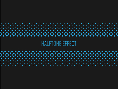 Halftone effect title strip with blue text on dark grey background. Vector illustration.