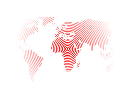 epicentre: World map of red concentric rings on white background. Earthquake epicentre theme. Modern design vector wallpaper.