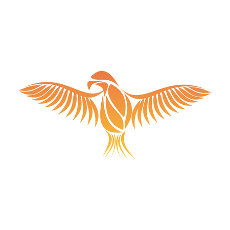 reborn: Flaming Phoenix Bird with wide spread wings in the orange fire colors on white background. Symbol of reborn and regeneration. EPS10 vector illustration.