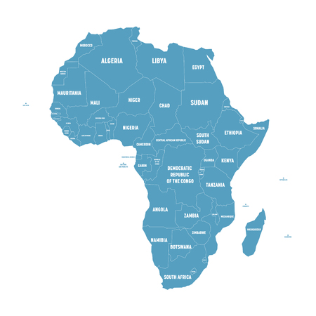 Simple flat blue map of Africa continent with national borders and country name labels on white background. Vector illustration.